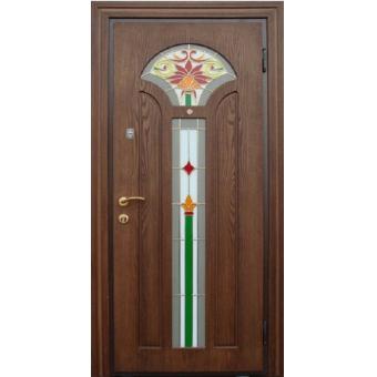 Дверь металлическая с витражом В-1