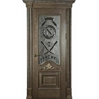 Дверь металлическая с витражом В-4