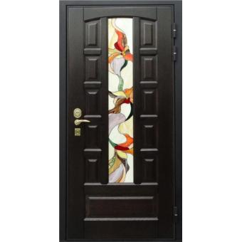 Дверь металлическая с витражом В-7