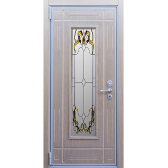 Дверь металлическая с витражом В-10