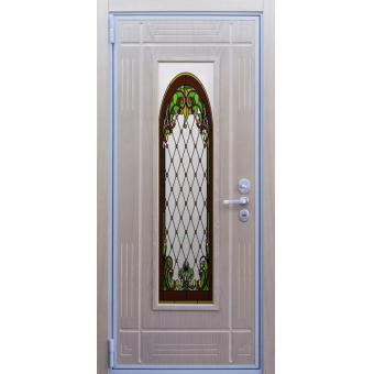 Дверь металлическая с витражом В-11