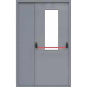 Дверь металлическая противопожарная ТПП4-полуторная со стеклом